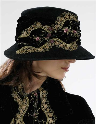 Louise Green Embroidered Velvet Fedora