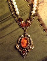 Amber Intaglio Glass Necklace