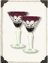 Victorian Martini Ruby Cut Glasses (Pair)
