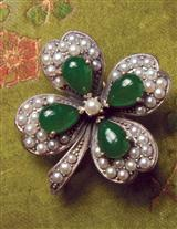 Seed Pearl Clover Brooch & Pendant