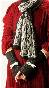Ivory & Black Knitted Pointelle Scarf