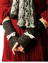 Fingerless Gloves (Ivory & Black)