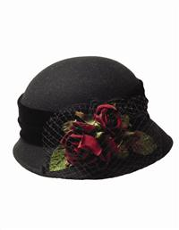 Portwine Roses Wool Cloche
