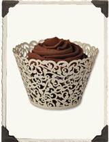 Cream Scroll Paper Lace Cupcake Wraps