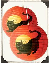 Black Cat Paper Lanterns (Pair)