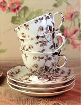 Chocolate Toile Cups And Saucers