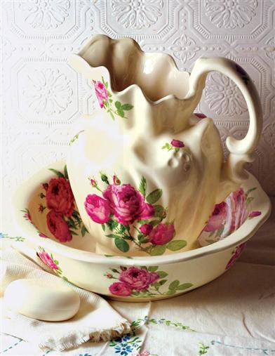 Roses Pitcher & Bowl