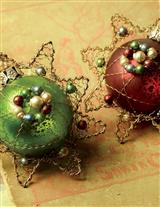 Pair Of Dresden Glass Jeweled Ornaments