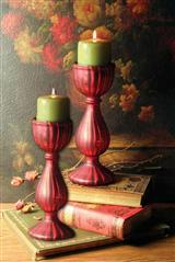Red Pillar Candlesticks (Pair)