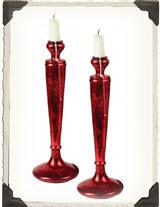 Red Taper Candlesticks (Pair)