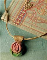 Shimmering Rose Sculpted Mesh Necklace