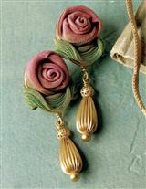 Shimmering Rose Sculpted Mesh Earrings