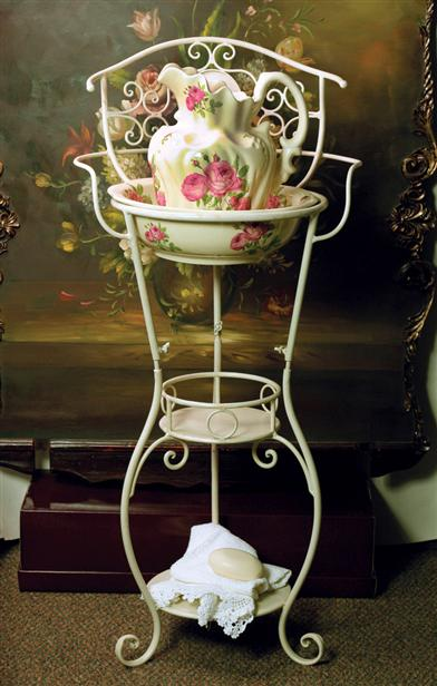 Victorian Washstand With Pink Roses Bowl & Pitcher