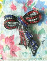 Crystal Patriotic Bow Pin