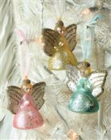 Pastel Mercury Glass Angels (Set Of 3)