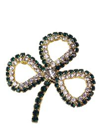 Crystal Shamrock Brooch