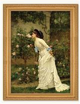 A Girl And Roses Framed Print (Gold)