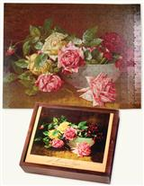 19Th C. Wooden Puzzle (Bowl Of Roses)