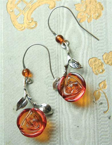 Amber Roses Earrings