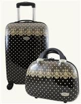 Black With Tea Lace Romantic Luggage Set