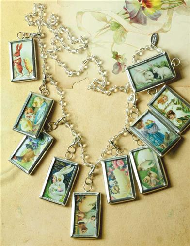 Tiny Easter Postcard Pendants & Rosary Chain