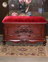 Red Mahogany Upholstered Top Blanket Chest