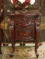 Carved Wooden Nightstand Red Mahogany
