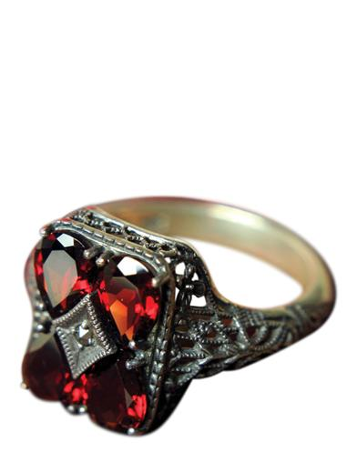 Cabernet Crystal Filigree Ring