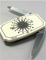 Money Clip Knife With Scrimshaw Compass Rose