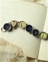 I Love You Typewriter Key Bracelet