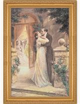 Lovers Embracing On A Terrace Framed Print
