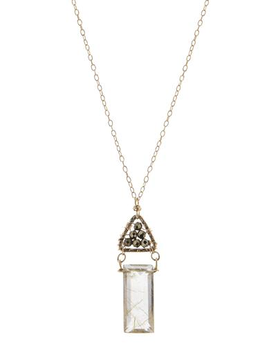 Gold Pyrite In Quartz Crystal Necklace