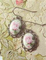 Baby Pink Roses Earrings