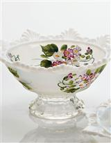 Violets On Milkglass Bowl
