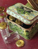 Nouveau Treasure Tins W/ 12 Curiosity Glass Jars
