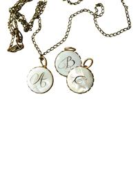 Mother-of-pearl Antique Monogram Pendant