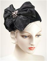 Louise Green Crystal Studded Billowed Bow Hat