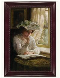 Lady Reading By A Window Framed (Cherry)