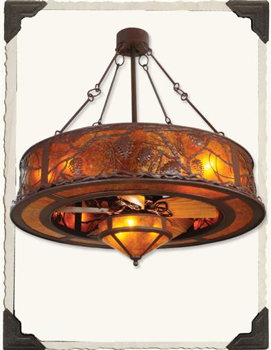 Whispering Pines Chandelier Fan Light
