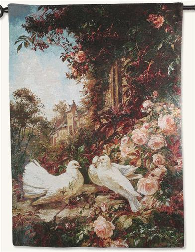 Study Of Doves & Roses Wall Tapestry