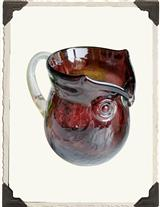 Blown Glass Hoot Owl Pitcher (Purple)