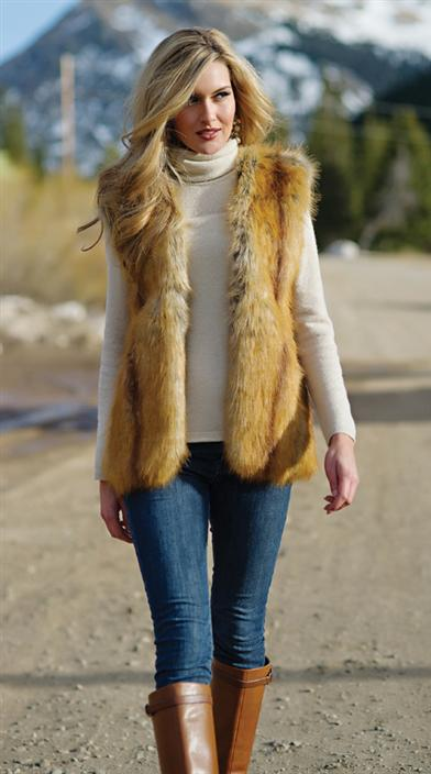 Faux Fur Golden Fox Vest