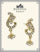 Downton Abbey Gold Pave Leaf Earrings