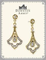 Downton Abbey Crystal Pave Fleur Drop Earrings
