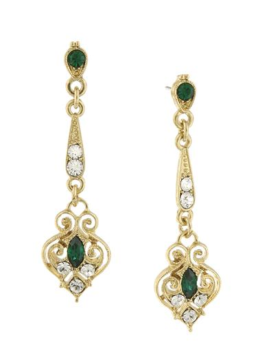Downton Abbey Gold Filigree Emerald Drop Earrings