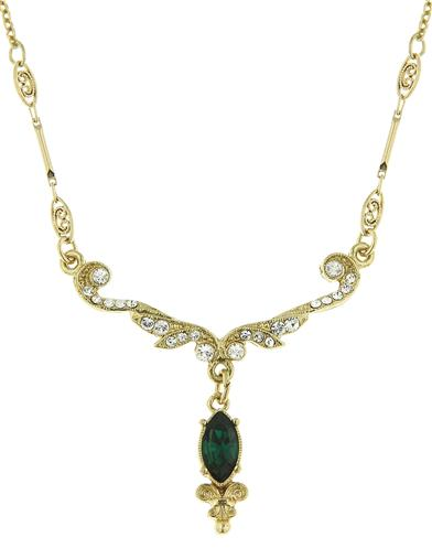 Downton Abbey Emerald Crystal Gold Scroll Necklace