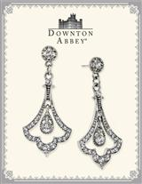 Downton Abbey Crystal Pave Silver Drop Earrings