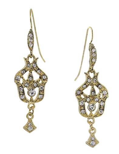 Downton Abbey Gold Tone Crystal Drop Earrings