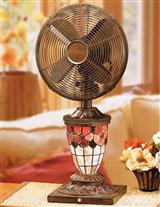 Floral Stained Glass Fan Lamp