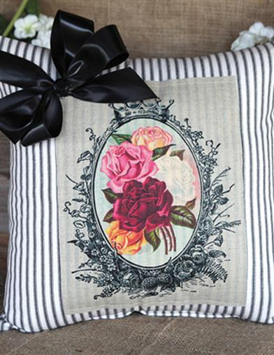 Old Roses & Ticking Porch Pillow